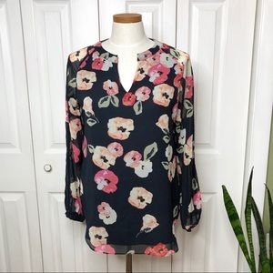 CAbi long sleeve floral blouse, sheer sleeves